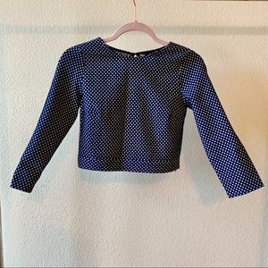Zara polka dot open back 3/4 sleeves crop top S
